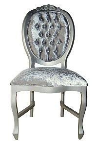 Cadeira Medalhão Entalhada - Pintura Prata e capitonê
