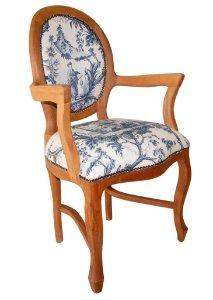 Cadeira Medalhão Lisa com braços - pintura PU natural