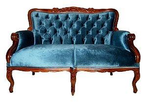 Namoradeira Status 02 lugares - assento fixo / veludo azul