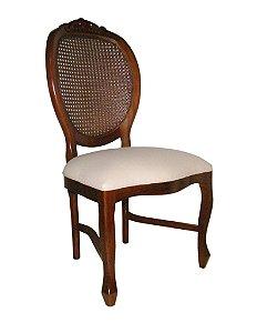 Cadeira Medalhão Entalhada sem braços - encosto com palhinha