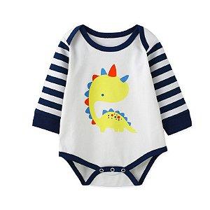 Body Manga Longa Estampado Dino Baby