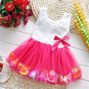 Vestiddo Decorado Tule e Flores