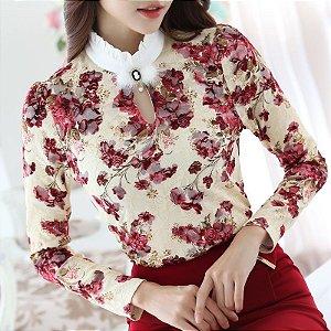 Camisa Floral Elegante Sexy