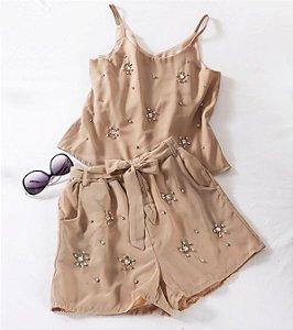 Conjunto Short+Blusa com Pedras