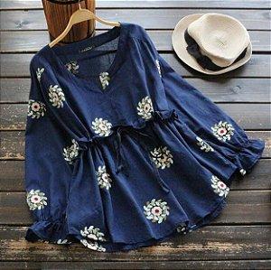 Blusao Floral Lace Decote em V