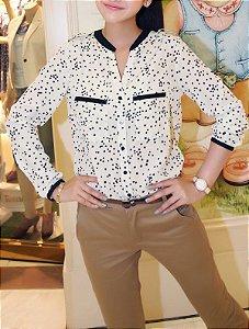 Camisa de Chiffon Manga Longa