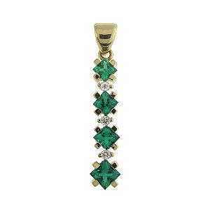 Pingente de Ouro 18k - Esmeralda - Pedra Preciosa - Carre