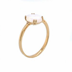 Anel de Ouro 18k - Pedra Preciosa - Opala - Raridade