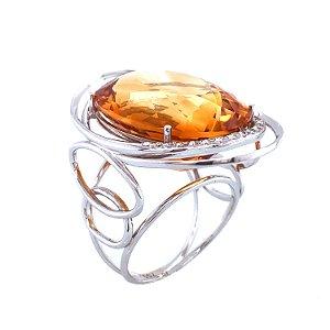 Anel de ouro - Citrino - Pedras Preciosas - Magnífico