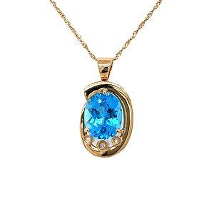 Pingente de Ouro 18k - Topázio Azul - Oval - Esplendida