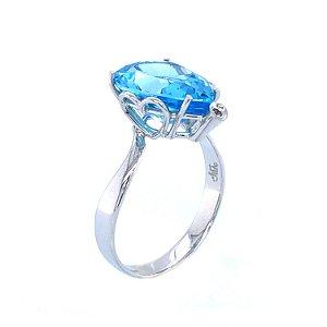 Anel Ouro 18k - Topázio Azul - Pedras Preciosas - Heart