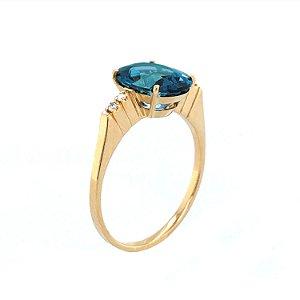 Anel de Ouro  - Topázio Azul - Gemas - Luxo