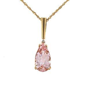 Pingente de Ouro - Morganita - Pedra Preciosa - Gota - Desejável