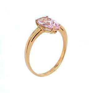 Anel de Ouro - Morganita - Pedra Preciosa - Gota - Desejável