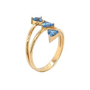Anel de Ouro - Agua Marinha - Pedra Preciosa - Gota - Desejável