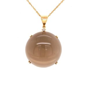 Pingente Ouro 18k - Quartzo Fume - Pedra Preciosa - Sofisticada