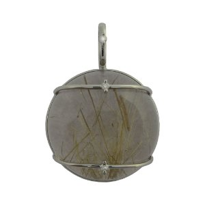 Pingente Ouro 18k - Rutilo - Pedra Preciosa - Sofisticada