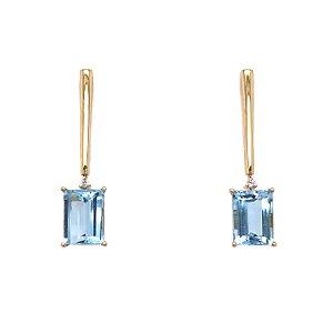 Brinco de Ouro - Topázio Azul - Gemas - Luxo