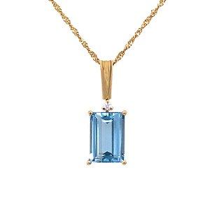 Pingente de Ouro - Topázio Azul - Gemas - Luxo