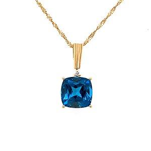 Pingente de Ouro - Topázio Azul  - Luxo