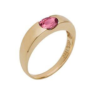 Anel de Ouro18k - Rubelita - Pedra Preciosa - Magnífico
