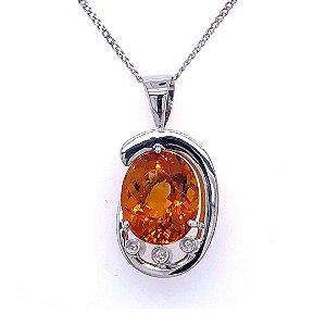Pingente de Ouro 18k - Citrino - Pedra Preciosa -  Espetacular