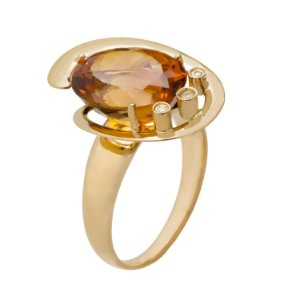 Anel Ouro 18k - Citrino - Pedras Preciosas - Espetacular