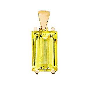 Pingente de Ouro 18k - Berilo - Pedra Preciosa - Retangular