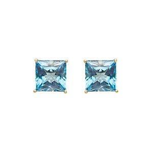 Brinco de Ouro - Topázio Azul - Gemas - Carre - Delicado