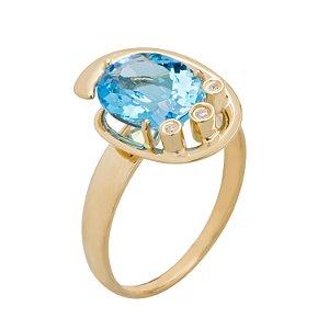 Anel Ouro 18k - Topázio Azul - Pedras Preciosas - Espetacular