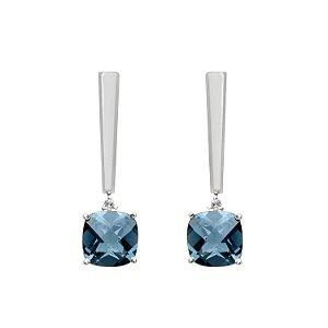Brinco de Ouro - Topázio Azul - Pedra Preciosa - Desejável