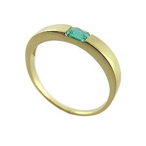 Anel de Ouro18k - Esmeralda - Pedra Preciosa - Desejo