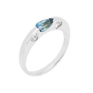Anel de Ouro - Água Marinha - Pedra Preciosa - Gota - Coração