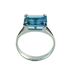 Anel - Topázio Azul - Ouro 18k
