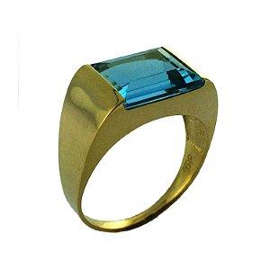 Anel de Ouro18k - Topázio Azul - Pedra Preciosa - Desejo
