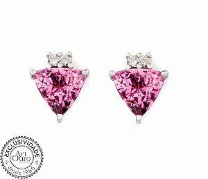 Brinco - Turmalina Rosa - Ouro 18k