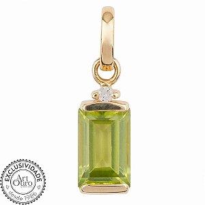 Pingente de Ouro 18k - Peridoto - Pedras Preciosas - Admirável