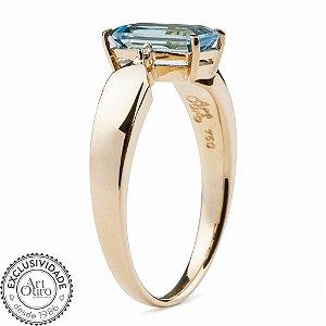 Anel de Ouro - Água Marinha - Pedra Preciosa - Retangular