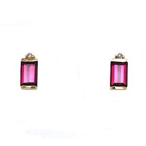 Brinco de Ouro 18k - Rodolita - Pedras Preciosas - Admirável