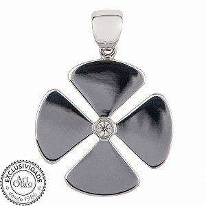 Pingente de ouro 18k - Trevo - Diamante - Pedra Preciosa - Sorte