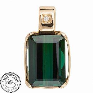 Pingente  de Ouro 18k - Turmalina - Pedra Preciosa - Glamoroso