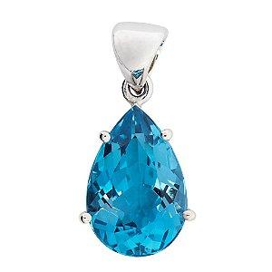 Pingente de Ouro - Topázio Azul - Gota - pedra preciosa - Encanto