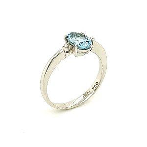 Anel de Ouro 18k - Água Marinha - Pedra Preciosa - Desejável