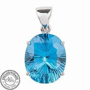 Pingente de Ouro - Topázio Azul - Oval - Pedra Preciosa - Encanto