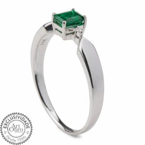 Anel  Ouro - Esmeralda - Pedra Preciosa - Retangular - Glamurosa