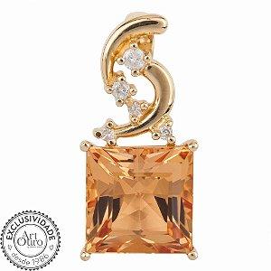 Pingente de Ouro 18k - Topázio Imperial - Pedra Preciosa - Adorável