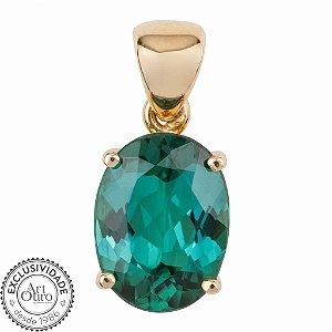 Pingente de Ouro - Turmalina - Oval - Pedra Preciosa - Encanto
