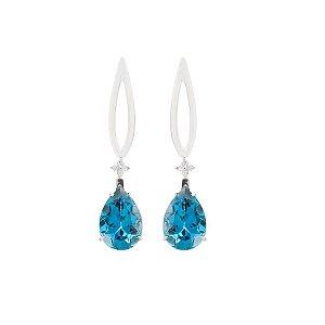 Brinco de Ouro - topázio azul - Pedra Preciosa - Gota - Desejável