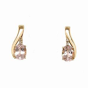 Brinco - Ouro 18k - Morganita - Pedra Preciosa - Super Meiga