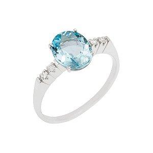 Anel de Ouro 18k - Agua Marinha - Pedra Preciosa - Romantico